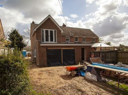 2 storey extension partly completed